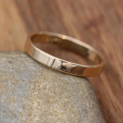 14kt Yellow Gold Wide Band 3x1mm with Glossy Finish - Hand Made in solid 14 kt Yellow Gold - Wide Band - Thin Gold Ring - Gold Band