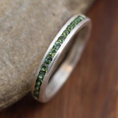 Tourmaline Channel Ring - Matte Finish- Green Tourmaline Band - Green Tourmaline Ring - Half Channel Silver Band - Tourmaline Ring