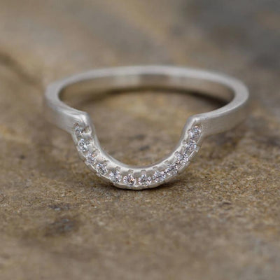 Diamond Half Moon Pave Wedding Ring in Sterling Silver or Karat Gold - Matte Finish- Alternative Engagement Ring - Diamond Band - Moon Ring