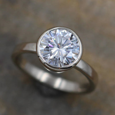 Moissanite White Gold Alternative Engagement Ring, 8mm 1.6 ct  Glossy Finish Bezel Ring - Forever One- Traditional - Bezel Ring