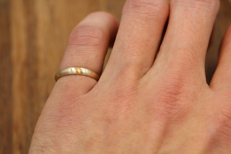Half Round Gold Matte Finish Ring 3x1.5mm - Simple Wedding Band - Smooth Texture Half Round Band hand made in 14 kt yellow gold