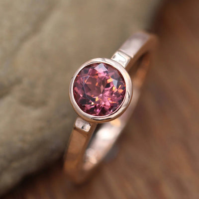 Pink Tourmaline Bezel Ring in 14 kt Rose Gold - Alternative Ring - Recycled Engagement Ring - Fine Pink Tourmaline - Pink Bezel Ring