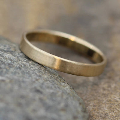 14kt Yellow Gold Wide Band 3x1mm with Matte Finish - Hand Made in solid 14 kt Yellow Gold - Wide Band - Thin Gold Ring - Gold Band