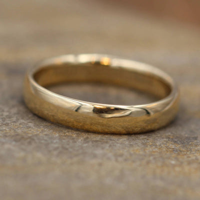 Wide Yellow Gold Band 4x 1.5mm, Shiny Finish , Comfort Fit - Smooth Band - Engravable Band - Half Round Gold Band - Hand Made