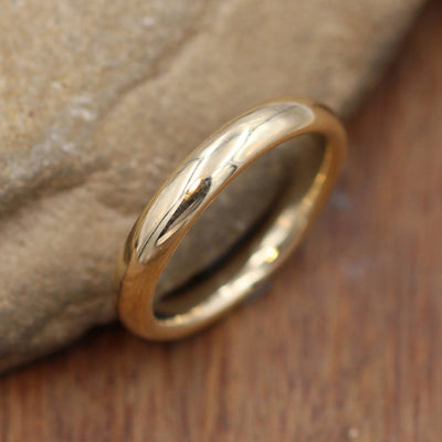 Yellow Gold Band, 3.5x2mm Comfort Fit Glossy Finish - Simple Gold Band - Smooth Band - Engravable Band - Half Round Gold Band - Hand Made