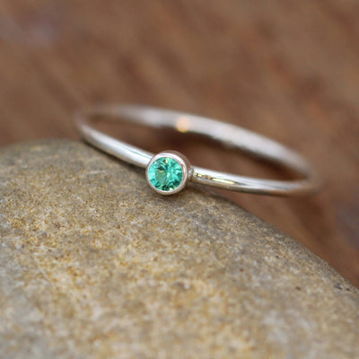 Emerald 3mm Bezel Stacking Ring - Silver 1.2mm Round Stacking Ring - In Silver and Gold - Stackable - Smooth Texture - Petite Emerald