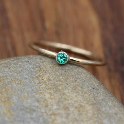 Emerald Ring - 2.5mm, 1.2mm Band -  14 kt Yellow & White Gold Smooth Round Bezel Stacking Ring - Emerald Solitaire Ring - Fine Emerald