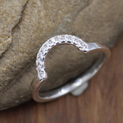 Diamond Half Moon Pave Wedding Ring in Sterling Silver or Karat Gold - Glossy Finish- Alternative Engagement Ring - Diamond Band - Moon Ring