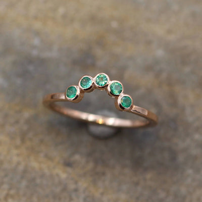 Emerald Half Moon Rose Gold Ring - Emerald Bezel Ring - Wraparound Ring - Emerald Moon RIng - Rose Gold Bezel Ring - Emerald Gold Ring