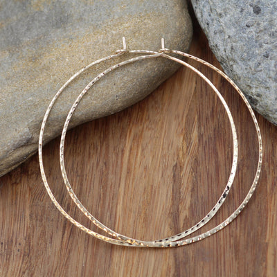 14 kt Yellow Gold Textured Hoops - Solid Gold Hoops - Hammered Gold Hoops - Light Weight Gold Hoops