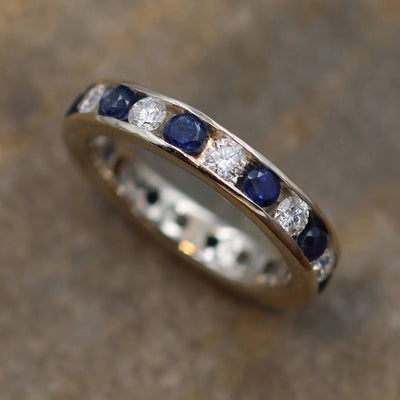 Diamond and Sapphire Full Channel Wedding Band - Alternative Wedding ring - Sapphire Ring - Diamond Channel Ring