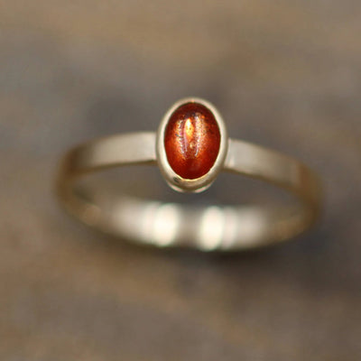 Sunstone Gold Matte Oval Bezel Ring - Red Sunstone Gold Ring - Sunstone Recycled Ring - Sunstone Cab Ring - Gold Sunstone Ring - Sunstone