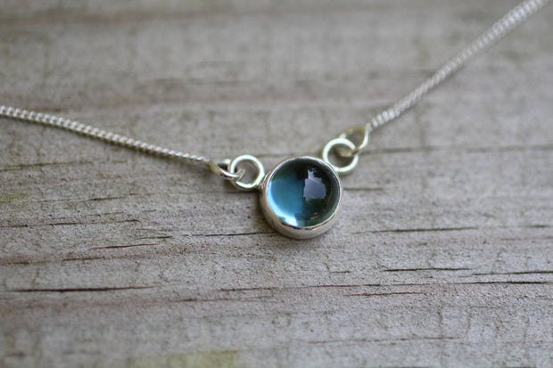 Blue Topaz Cabochon Bezel Necklace - Large London Blue Topaz - Silver Blue Topaz Necklace - Cabochon necklace - Bezel Set Necklace