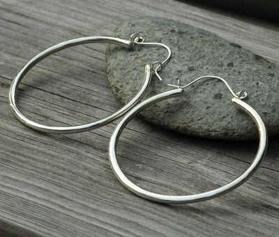 Large Silver Hoop Earrings - Thick Hoop Earrings  - Hoop Earrings - Clasp Hoops - Tubing Hoops - Large Hoops