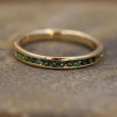 Gold Green Tourmaline Ring Glossy Finish - Green Tourmaline Wedding Band - Green Tourmaline Channel Ring - Half Channel Tourmaline Ring