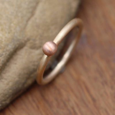 14 Kt Yellow & Rose Gold Dot 2 mm Matte Stacking Ring - Rose Gold Large Bead Stacking Ring - Gold Stacking - Stacking Band