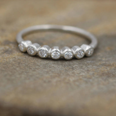 Diamond Small Bezel Wedding Ring in 18 Karat Gold - Matte Finish- Alternative Engagement Ring - Diamond Bezel - Diamond Ring