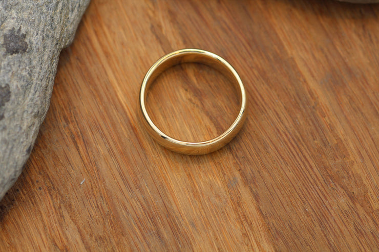Very Wide 14kt Yellow Gold Band 6x1.9mm, Glossy Finish , Comfort Fit - Smooth Band - Engravable Band - Half Round Gold Band - Hand Made