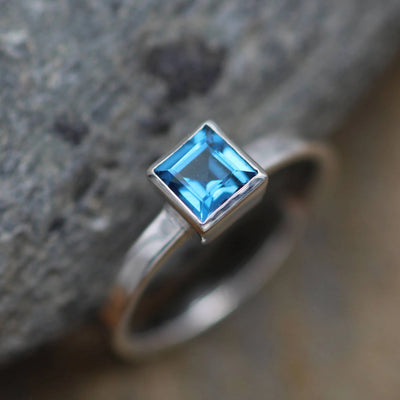 London Blue Topaz Square Bezel Solitaire Ring - 5x5mm Topaz - Glossy Blue Topaz Ring - London Blue Bezel - Topaz Solitaire Ring