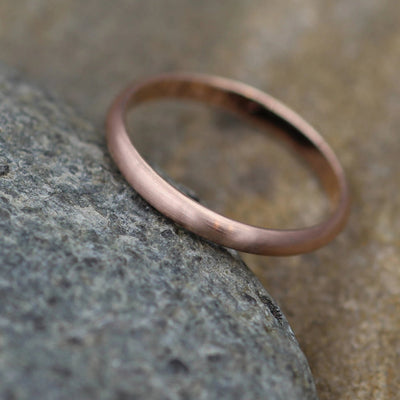 Rose Gold 2.5x1.2mm Matte Finish Band - Simple Rose Gold Band - Engravable Band - Half Round Gold Band - Hand Made in 14 kt Rose Gold