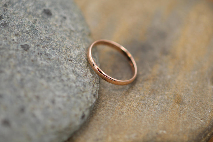 Rose Gold Band 2.5x1.2mm, Glossy Finish - Simple Pink Gold Band - Engravable Band - Half Round Gold Band - Hand Made in 14 kt Rose Gold