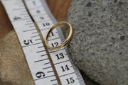 Yellow Gold Wedding Band, Matte & Glossy Set - Engravable - Half Round - Traditional - Simple Wedding Band - Hand Made in 14 Kt Yellow Gold