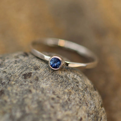 Sapphire Stacking Ring - 3mm, Glossy Finish - Hand Made in Silver or Gold - Stackable - Hammered Texture - Skinny Sapphire Ring