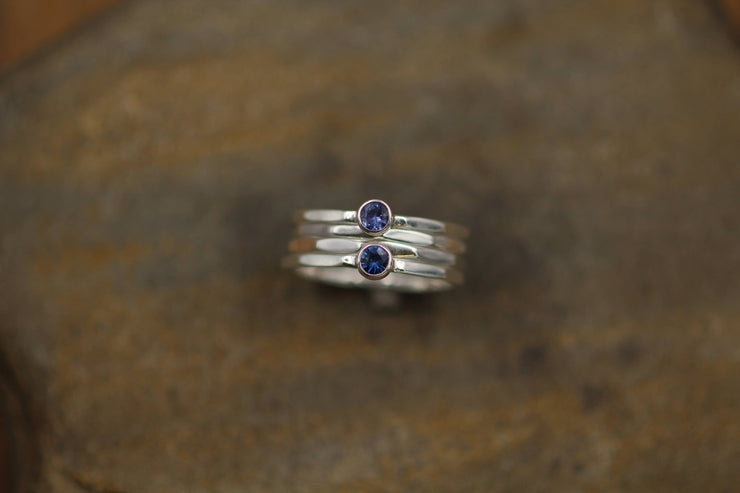 Tanzanite and Blue Sapphire Stacking Ring Set - Round Stacking Ring Set - Silver Stacking Ring Set - Blue Sapphire Stack - Tanzanite Stack
