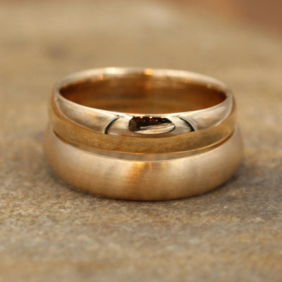 Wide Yellow Gold 4.5x 1.4mm Ring Set - Mixed Finish - Comfortable Band - Smooth Band - Engravable Band - Half Round Gold Band