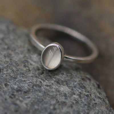 Moonstone Stacking Ring in Sterling Silver - Moonstone Ring - Moonstone Oval Stacking Ring - Moonstone Silver Ring