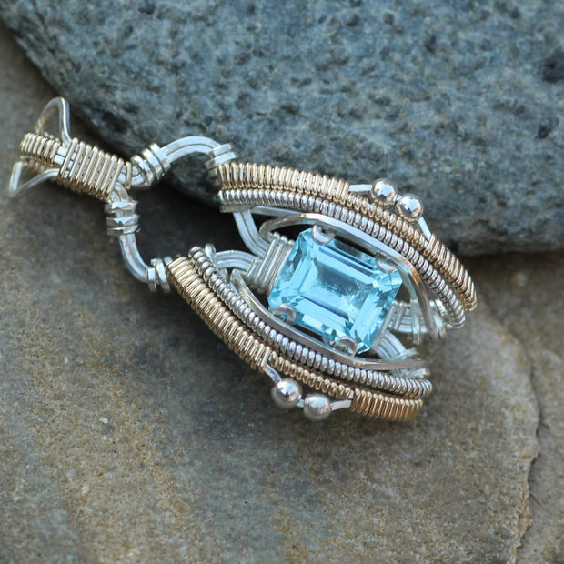 Blue Topaz Wire Wrapped Pendant - Blue Topaz Octagon - Blue Topaz Wrap - Heady Blue Topaz Wire Wrap