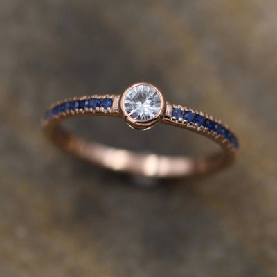 White and Blue Sapphire Rose Gold Alternative Engagement - Sapphire Gold Ring - White Sapphire Bezel Ring - Sapphire Ring - Rose Gold Ring