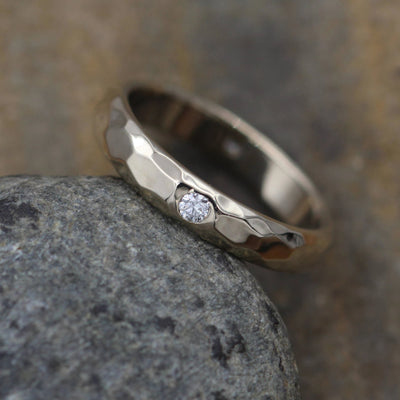 Diamond Wide Inset Ring Glossy Finish - Diamond Inset Band - Diamond White Gold Band - Hammered Diamond Band - Engravable Diamond band