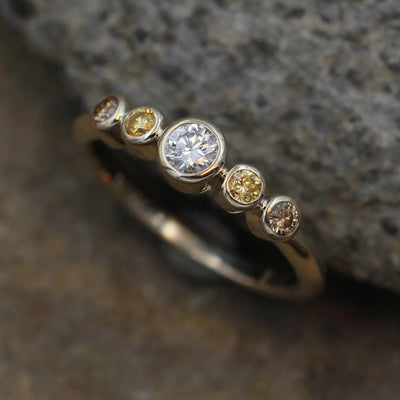 Diamond Multi Bezel Ring - White , Yellow and Brown Diamond Ring - VS Diamond Ring - Diamond Engagment Ring - Conflict Free Diamond Ring