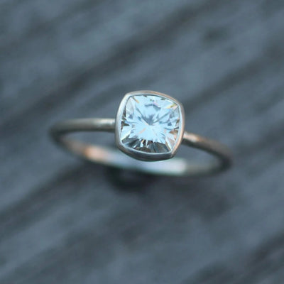 Moissanite Cushion Cut Bezel Solitaire Ring - 6x6mm Forever One Moissanite - Glossy Moissanite Ring - Bezel - Moissanite Solitaire Ring