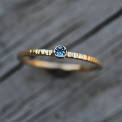 Aquamarine Gold Stacking Ring - Thick Gold Aquamarine Ring - Aquamarine Yellow Gold Ring - 14 kt Aquamarine - Aquamarine hammered ring