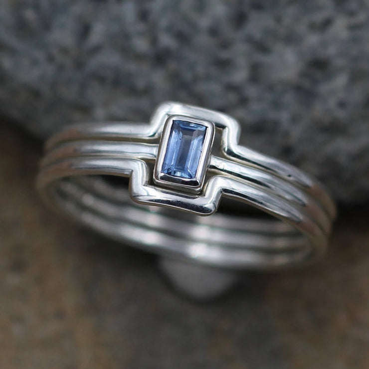 Ceylon Sapphire Bezel Ring with Wraparound Bands - Dainty Glossy Finish Solitaire Ring - Rectangular Ring - Alternative Engagement Ring