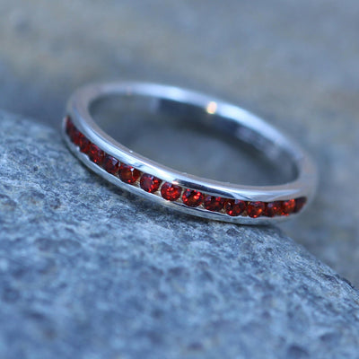 Garnet Channel Ring Glossy Finish - Garnet Wedding Band - Garnet Half Channel Ring - Half Channel Band - Garnet Ring - Garnet Band