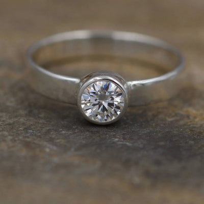 Moissanite White Gold 5mm Bezel Engagement Ring - Glossy Finish - Wide Band - Traditional Style Ring - Solitaire Ring