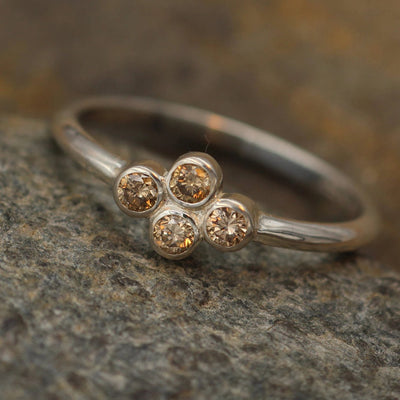 Brown Diamond Bezel Ring - Alternative Engagement Ring - Brown Diamond Ring in Recyceld Sterling Silver or Karat Gold - Diamond Bezel Ring