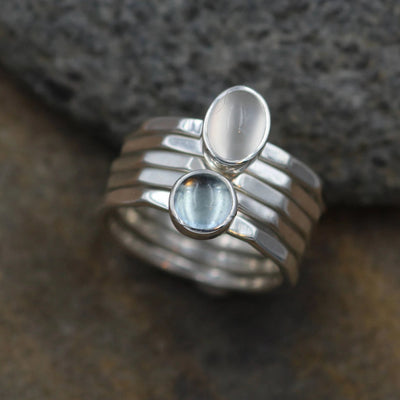Blue Topaz  & Moonstone Stacking Ring Set in Sterling Silver, Hand Made, 5x Rings - Hammered Stacking Rings - Stacking Set