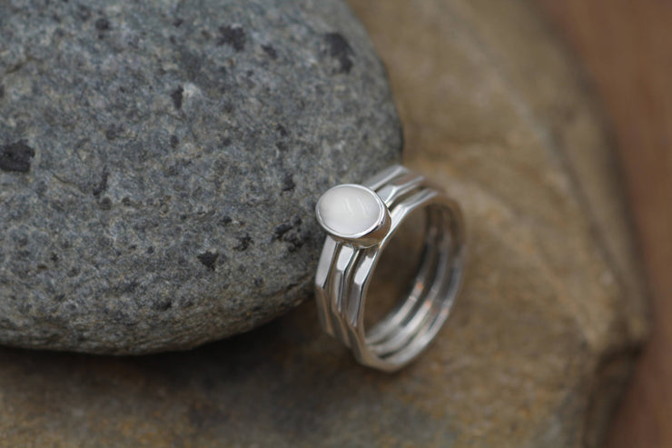 Moonstone Bezel Ring Set - 5x7 Oval Glossy Sterling Silver Ring Set  - Stacking Ring Set - Hand Made in Recyceld Argentium Sterling Silver