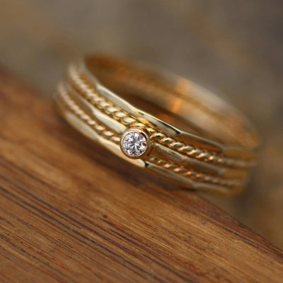 Petite Diamond Gold Stacking Ring Set Glossy Finish - Diamond Stacking Ring Set - VS Diamond Ring - Diamond Ring - Diamond bezel Ring Set