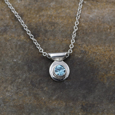 Blue Zircon Bezel Necklace - Blue Zircon Slider Necklace - Silver Blue Zircon - Blue Zircon Gift - Blue Zircon Bezel  - Blue Zircon Jewelry