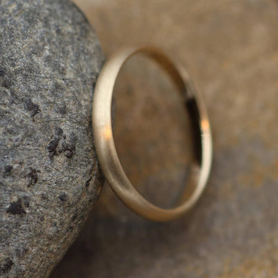 Yellow Gold 14kt Matte Finish 2.5x1.2mm Band - Simple Gold Band - Smooth Band - Engravable Band - Half Round Gold Band - Hand Made