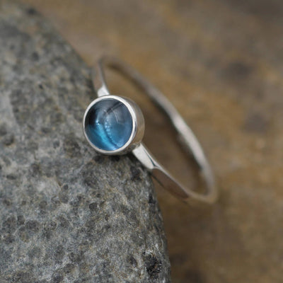 London Blue Topaz 6mm, 1.5mm band Round Stacking Ring - Round Topaz Bezel Ring - Topaz Stackable Ring - Blue Topaz- London Blue Topaz Ring