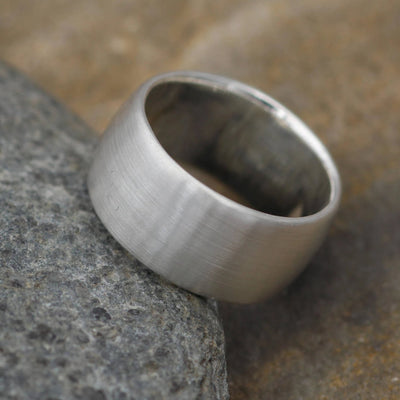 Very Wide Half Round Silver Matte Ring 10x1.5mm - Simple band - Smooth Texture Half Round Band hand made in sterling silver or yellow gold