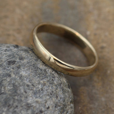 Wide Yellow Gold Band 3.5x 1.5mm, Shiny Finish , Comfort Fit - Smooth Band - Engravable Band - Half Round Gold Band - Hand Made
