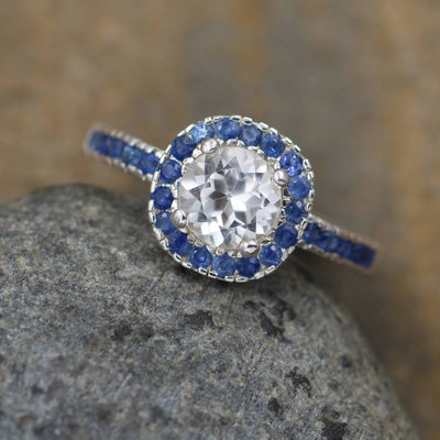 White Topaz and Sapphire Alternative Engagement Ring - Diamond Alternative - Conflict Free Engagment Ring - Halo Engagment Ring