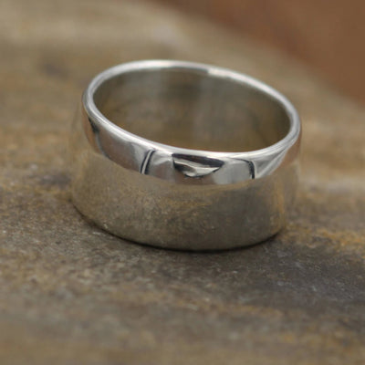 Very Wide Half Round Silver Glossy Ring 10x1.5mm - Simple band - Smooth Texture Half Round Band hand made in sterling silver or yellow gold